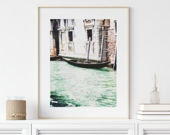 Venice Italy Canal with Boat Print or Canvas Wall Art. Portrait or Landscape. Italy Decor. Nautical Decor. Italian Travel Photography.