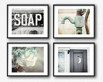 Farmhouse Bathroom Wall Decor, Rustic Bathroom Art, Farmhouse Bathroom Print or Canvas Set of 4, Teal and Black Bathroom Pictures Farmhouse.