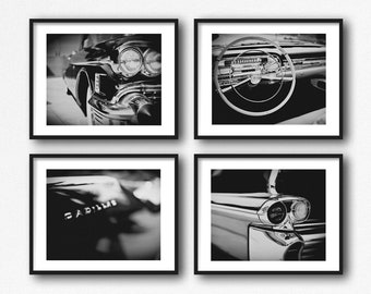 Black and White Car Photo Set Retro Mid-Century Modern Wall Art Decor for Men. 1950s Cadillac Art Prints or Canvas Wall Art. Gift for Him.