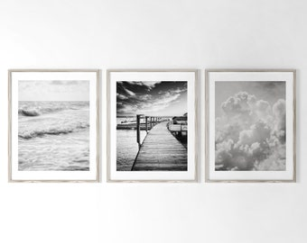 Minimalist Black and White Wall Art Decor. Contemporary Black and White Art Prints or Canvas Wall Art. Wall Decor Sale Set.