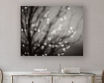 Canvas Wall Art: Black and White Abstract Art, Bokeh Lights Holiday Dreamy Surreal Modern Art, Abstract Canvas Wall Art Print.