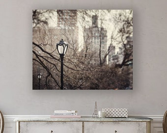 Canvas Wall Art: New York City Canvas, Central Park Lamppost Print, New York Landscape, Canvas Art of New York City Lamp.