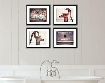 Farmhouse Bathroom Wall Decor, Bathroom Wall Art, Rustic Bathroom Decor,  Brown, Red, Aqua, Farmhouse Home Decor, Bathroom Prints, Gifts.