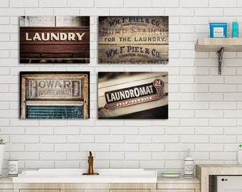 Laundry Room Wall Decor Set Of 4 Prints Or Canvas. Rustic Farmhouse Laundry  Room Art In Red, Sepia And Brown.