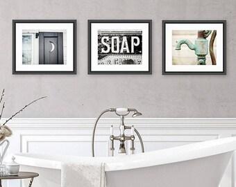 Rustic Bathroom Wall Decor, Bathroom Wall Art Set of 3 Prints or Canvas Set, Farmhouse Bathroom Prints, Bathroom Art, Shabby Chic Bathroom.