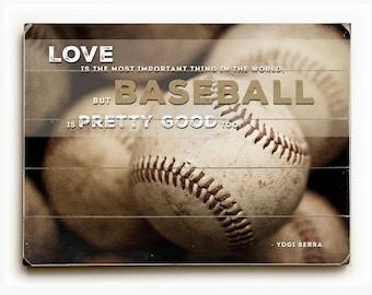 Baseball Art on Wood Planks, Baseball Boys Room Decor, Yogi Berra Quotation on Wood Planks, Baseball Nursery Art, Rustic Sports Decor, Boys.