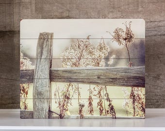 Wood Sign Country Home Decor Fence Print Golden Grasses Rustic Farmhouse Wall Art Beige