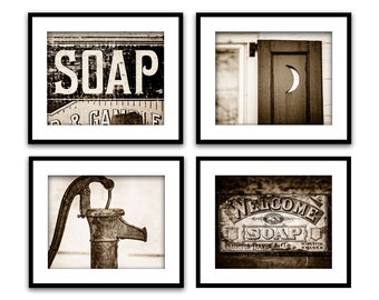 Vintage Bathroom Art Etsy