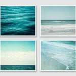 Teal Beach Decor Print Set of 4. Coastal Wall Art Prints, Canvas, Wood Signs or Plaques. Aqua, Turquoise Ocean Photography.