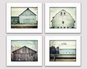 Modern Farmhouse Decor. Teal Farmhouse Wall Art. Farmhouse Wall Decor. Set of 4 Prints. Barn Photography. Cottage Decor. Shabby Chic Decor.