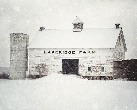 White Barn in the Snow, Rustic Home Decor Barn Art Print or Canvas, Fixer Upper Decor Decor, Winter Farmhouse Decor, White Wall Art Farm.