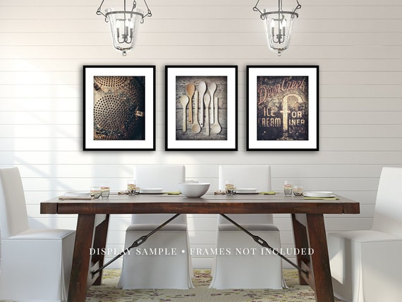 Set Of 3 Kitchen Wall Decor Dining Room Art Rustic Etsy