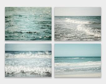 Beach Decor, Beach Print, Beach Prints, Set of 4 Prints or Canvas Art Set, Ocean Wall Decor, Ocean Print, Turquoise, Teal, Aqua.
