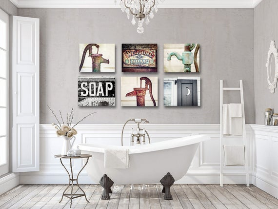 Rustic Farmhouse Bathroom Wall Art Decor Set Of 6 Art Prints Etsy