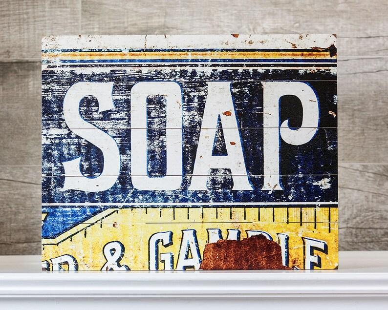 Salle de bain bois murale Art Déco Vintage savon signe bleu | Etsy
