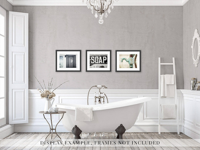 Incredible Farmhouse Bathroom Wall Decor Set Of 3 Prints For Rustic Bathroom Art Canvas Wood Signs Prints Color Black And White Sepia Download Free Architecture Designs Lukepmadebymaigaardcom