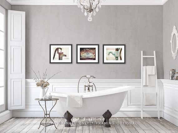 Art mural salle de bain rustique | Décoration murale salle de bain rustique  | Impressions de la salle de bain ou de la toile | Lot de 3 | Ensemble de  ...