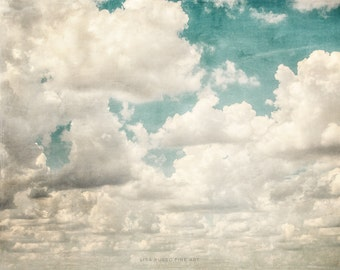 Texas Sky Print or Canvas Art, Clouds Picture of Clouds, Nursery Decor, White Cream Aqua Teal, Landscape Print, Cloud Print.