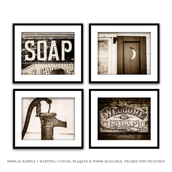 Rustic Sepia Bathroom Wall Art Decor Set Of 4 Farmhouse Sepia Etsy