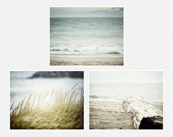 Beach Wall Art Decor Set of 3 in Pastel Blue, Teal, Turquoise, Beige and Green. Discounted Set.