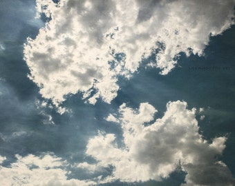 Dark Blue Wall Print or Canvas Art, Navy Blue Decor, Dramatic Cloud Print, Blue Nature Print, Texas Art, Clouds Picture.