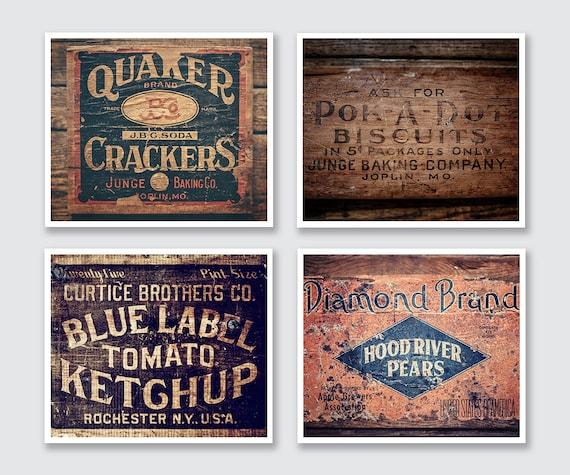 Modern Farmhouse Kitchen Wall Decor Set of 4 Prints Rustic   Etsy