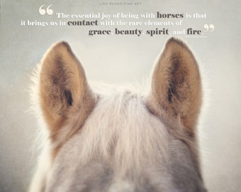 Horse Art, Horse Print or Canvas Art, Horse Quotes, Joy of Horses, Horse Ears, Typography, Text, Type, Horse Quotation, Beige, Tan, Cream.