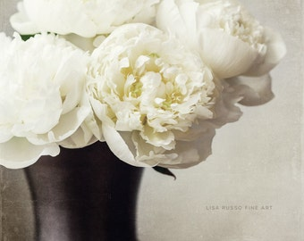 Cream Peonies in a Bronze Vase, Elegant Flower Print or Canvas Art, Peony Print, Cream Floral, Neutral Wall Art, Ivory Flowers.