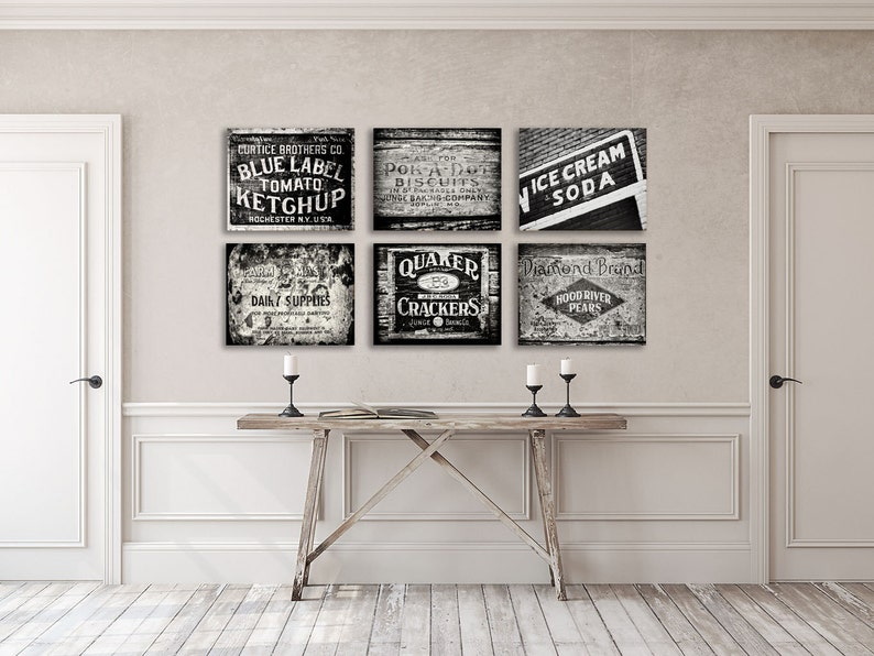 Black And White Kitchen Wall Decor Black and White Kitchen Wall Art Set of 6 Prints or Canvas Wraps. Farmhouse  Kitc... Black and White Kitchen Wall Art Set of 6 Prints or Canvas Wraps.
