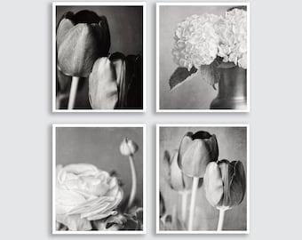 Black and White Flower Prints or Canvas Art Set of 4 Prints, Flower Print, Black and White Art, Bathroom Decor Set, Elegant Silver.