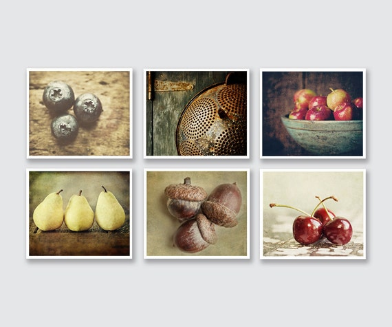 Kitchen Art 88: Country Kitchen Decor Set Of 6 Food Prints Or Canvas Set