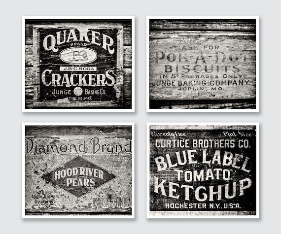 Black And White Rustic Kitchen Wall Art Decor Set Of 4 Etsy