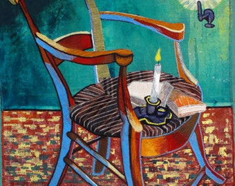 Gauguin's Chair, 12 x 10 inches, print on paper