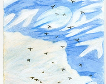 Flock & Clouds Print on paper