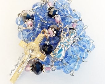 Catholic Rosary Blue Crystal Glass Beads Traditional Rosary St Benedict Crucifix Confirmation First Communion Bridal Our Lady Beads R47