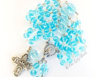 Catholic Rosary Aqua Glass Beads Traditional Rosary 5-Way Cross Confirmation First Communion Bridal Our Lady Beads R46