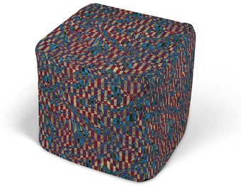 """Vintage Wonderland Ottoman, 13"""" or 18"""" Stuffed Cube Pouf with Zipper Cover"""
