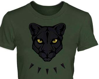 PANTHER Women's Style Shirt – All Sizes & Colors, Fitted Fashion Cut Tee – Fierce Black African Jungle Cat