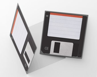 "Retro 3.5 Floppy Disk Card, 5x5"" Blank Greeting Card"