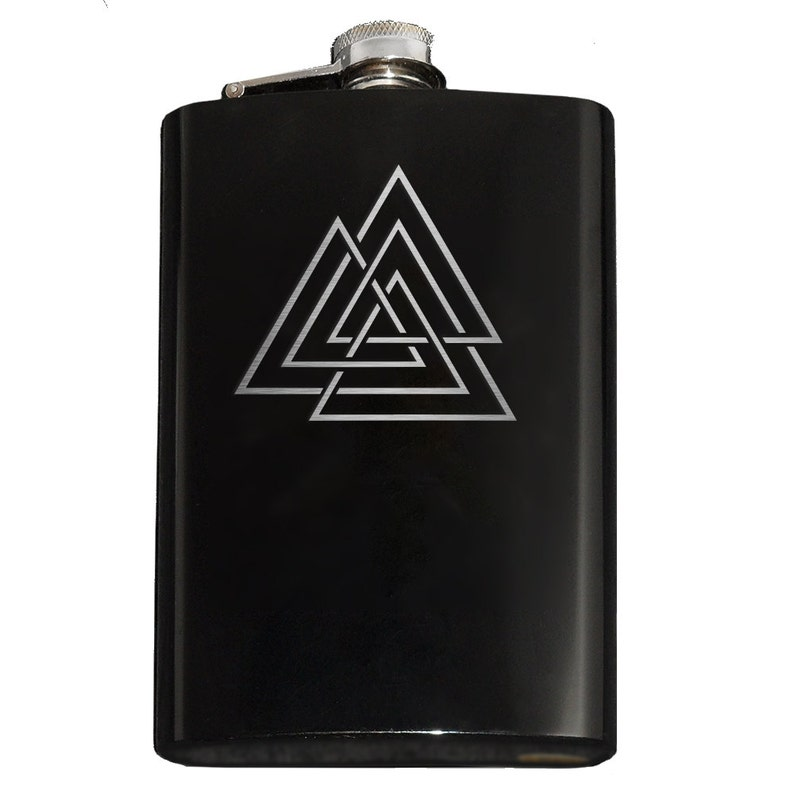 ENGRAVED VIKING 6OZ STAINLESS STEEL HIP FLASK GIFT BOX /& FUNNEL