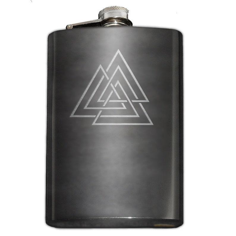 Viking Valknut Odin Symbol Etched Leatherette Flask