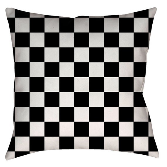 Classic Black And White Checkered Throw Pillow Spun Etsy