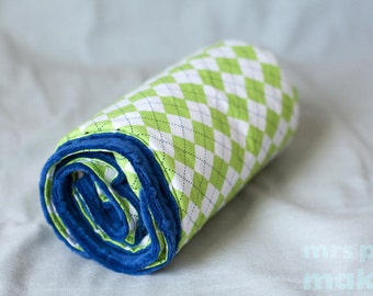 Handmade Super Soft Blue and Green Argyle Baby Blanket