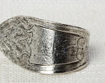 Vintage Silver Spoon Ring Simple Retro Adjustable 7RI
