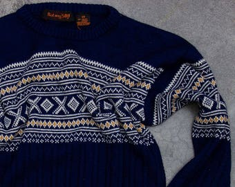 Navy Blue Fair Isle Sweater Vintage Winter Jumper Size LARGE SIZE 7NN