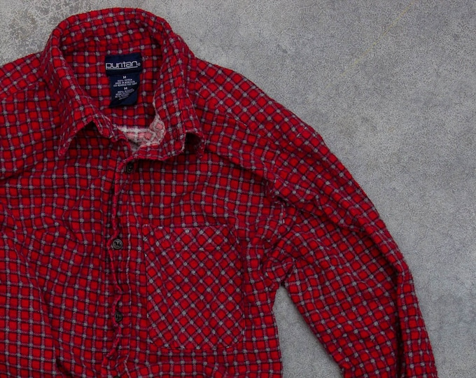 Vintage Flannel Cuffed Flannel Red Soft Vintage Printed Flannel 90s Grunge Size L 1990s Flannel Work Shirt | Mens Womens Unisex | 7V
