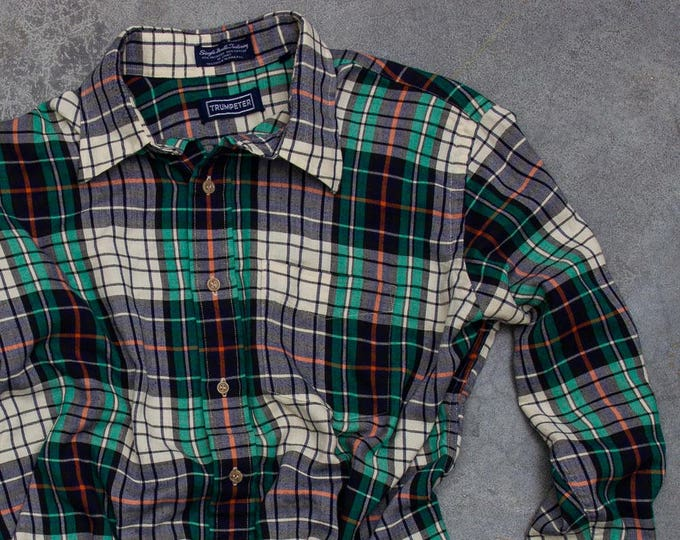 Vintage Flannel 90s Grunge Thin Work Shirt Size XL | Mens Womens Unisex | 7V
