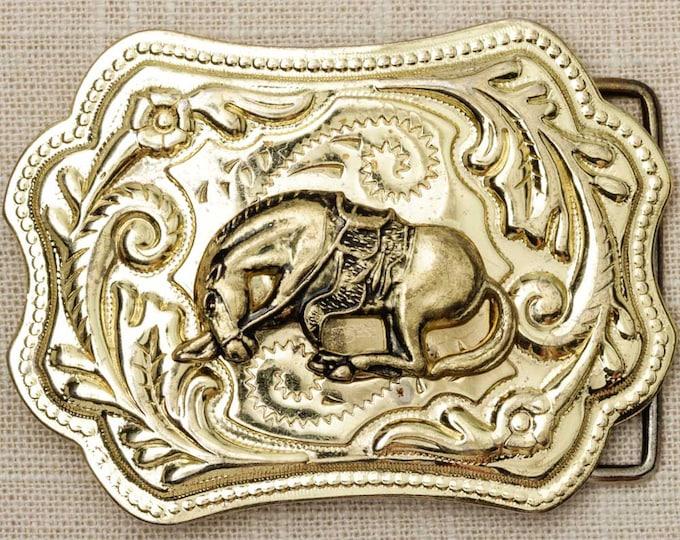 Horse Belt Buckle Shiny Gold Rodeo Fancy Unique Shape Vintage Belt Buckle 7Q