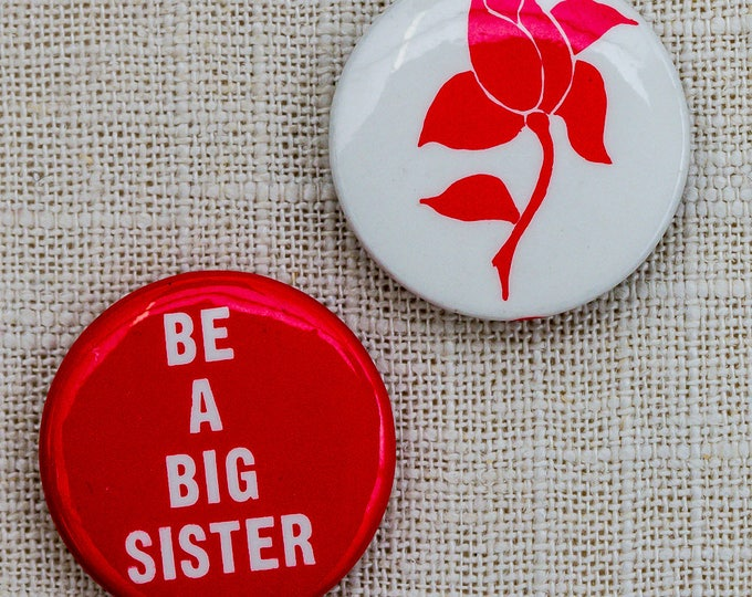 "2 Vintage Feminist Buttons ""Be A Big Sister"" + Rose Pin 