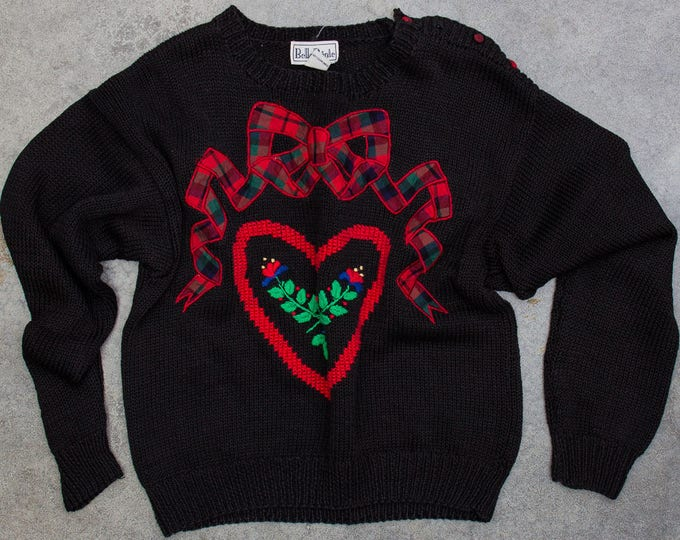 Vintage 1980s Sweater Size MEDIUM Red & Green Christmas Sweater Heart and Bow | Winter Jumper Plaid Size M Holiday Sweater Pullover 7CI